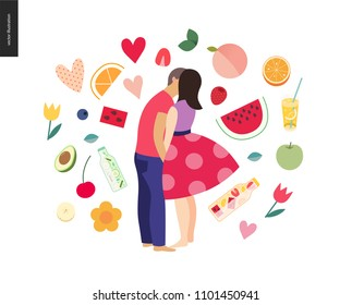 Kissing scene - flat cartoon vector illustration of young couple, boyfriend and girlfriend, kissing on beach, romantic scene with fruits, stickers on the background - postcard