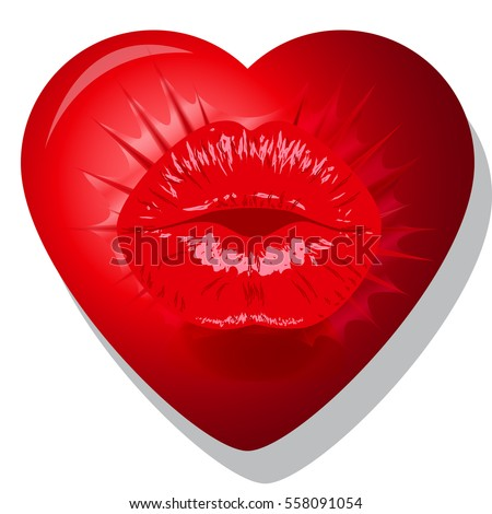 Kiss Lips Heart Valentines 8 March Womens Day Loveheartlipskiss