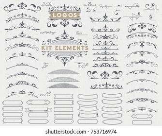 Kit of 75 Vintage Elements for Invitations, Banners, Posters, Placards, Badges or Logotypes.
