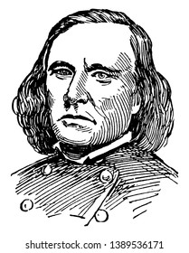 Kit Carson, 1809-1868, he was an American frontiersman, U.S. Army officer, fur trapper, wilderness guide, and Indian agent, vintage line drawing or engraving illustration