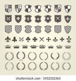 Kit of coat of arms for knight shields and royal emblems with laurel wreath, heraldry blazon elements, vector