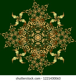 Kit for decorating festive greeting cards. Golden glitter ornaments on a green background with glowing lights. Seamless pattern of golden elements on a green backdrop.