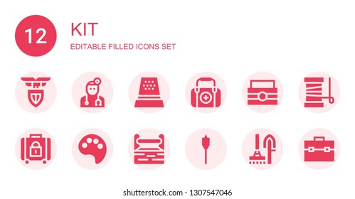 kit icon set. Collection of 12 filled kit icons included Lazio, Doctor, Thimble, First aid, Toolbox, Baggage, Paint palette, Auger, Tools, Yarn