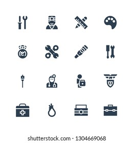 kit icon set. Collection of 16 filled kit icons included Toolbox, Tool, First aid, Lazio, Doctor, Auger, Tools, Pregnancy test, Real madrid, Paint palette