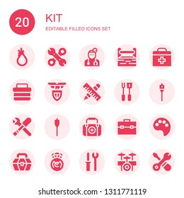 kit icon set. Collection of 20 filled kit icons included Tool, Tools, Doctor, Toolbox, First aid, Lazio, Auger, Paint palette, Real madrid, Drum set