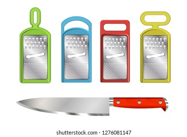 Kit metallic kitchen graters with plastic casing. Realistic knife on white background. Vector illustration.