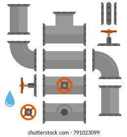 Kit set of pipelines. Isolated metallic elements of the pipeline. Vector illustration in flat style.