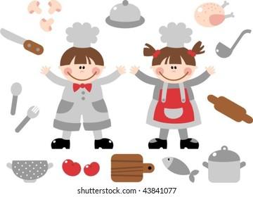 Ilustraciones Imágenes Y Vectores De Stock Sobre Niños Cocinando