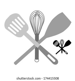 Kitchen  accessories - crossed spatula , balloon whisk and mixing spoon (scoop) illustration vector