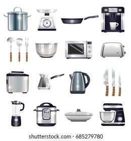 Kitchen accessories set with coffee machine, toaster, blender, microwave, food processor, kettle, cezve, knives isolated vector illustration