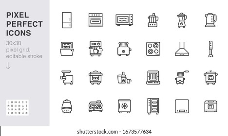 Kitchen appliance line icon set. Oven, mixer, dishwasher, food processor, combi steamer minimal vector illustrations. Simple outline signs of cooking equipment. 30x30 Pixel Perfect. Editable Strokes.