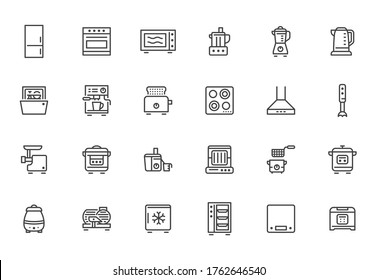 Kitchen appliance line icon set. Oven, mixer, dishwasher, food processor, combi steamer minimal vector illustrations. Simple outline signs of cooking equipment. Pixel Perfect. Editable Strokes.
