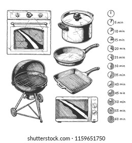 Kitchen appliance set, food preparation time. Cooking processes types: baking, grilling, frying, boiling icons. Objects: Frying pan, Kettle grill, Stock pot, Griddle pan, Oven and Microwave