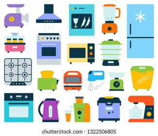 Kitchen Appliance simple flat cartoon style set. Equipment sign collection includes blender, juicer, gas stove. Electronics colorful icon kit. Color symbol isolated on white. Vector Illustration