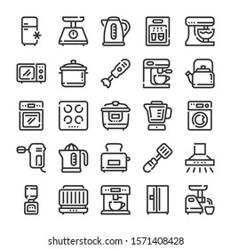 Kitchen appliances and electronics icons set. Line style