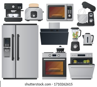 Kitchen appliances flat icons set. Set of cooking elements. Vector.