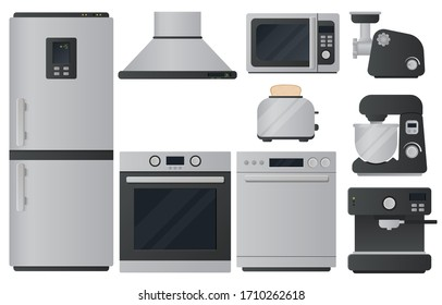 Kitchen appliances flat icons set. Set of cooking elements. Vector.