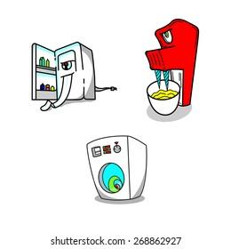 Kitchen appliances freezer mixer washing machine deadly comic set