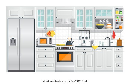 Kitchen appliances with gray interior on white background. flat home art vector illustration. indoor. cozy kitchen interior with stove, cupboard, dishes and fridge. culinary decorations collection.