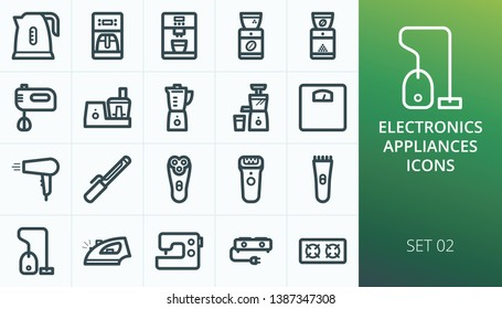 Kitchen appliances and household electronics icons set. Set of kettle, mixer, blender, juicer, scales, iron, vacuum cleaner, coffee machine, curling iron, food processor, electric razor icons