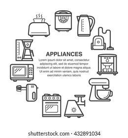 Kitchen appliances icons in a circle composition made in line art style.