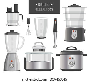 Kitchen appliances in metallic corpuses. Compact juicer, modern blenders and mixers, big combine and convenient multicookers vector illustrations.
