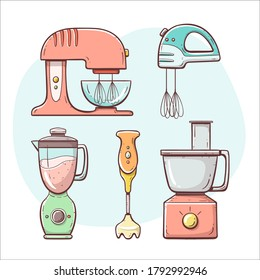 Kitchen appliances. Mixer and blender set. Hand drawn colorful collection.
