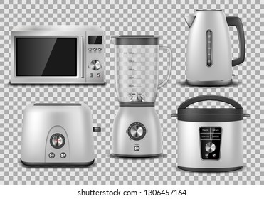 Kitchen appliances. Realistic microwave, kettle, blender, oven, juicer, toaster, multicooker silver mockup. Set of household appliance vector illustration.