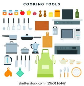 Kitchen appliances, utensils and crockery, set of icons. Cookware and condiments. Stove, pot, frying pen, bowl, dish, apron, microwave, pan, cutting board, various utensils. Vector illustration.