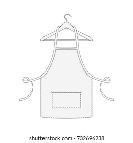 Kitchen apron for chef on hanger isolated on white background. Vector illustration