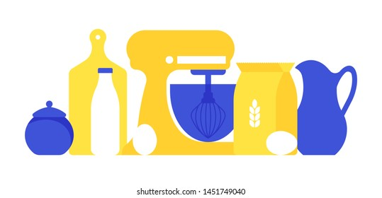 Kitchen and baking preparation: stand mixer, flour, milk, egg, measuring cup. Dishes, kitchen appliances and products. Vector illustration in trending style.
