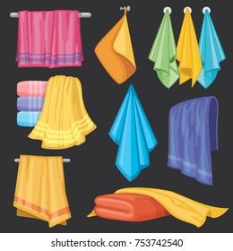 Kitchen and bath hanging and folding towels isolated vector set. Towel textile for bath room and beach illustration