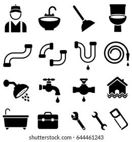Kitchen, bathroom and house plumbing icon set