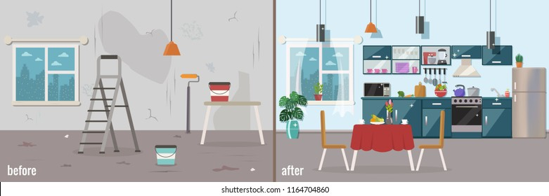 Kitchen before and after repair. Home interior renovation. Vector flat illustration.