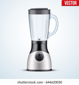 Kitchen blender with glass container. Electronic Kitchen appliance. Original design. Concept of Health food and drink. Vector Illustration isolated on background.