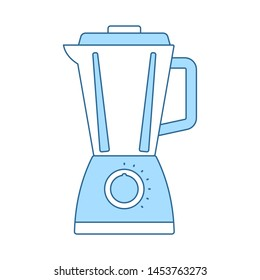 Kitchen Blender Icon. Thin Line With Blue Fill Design. Vector Illustration.