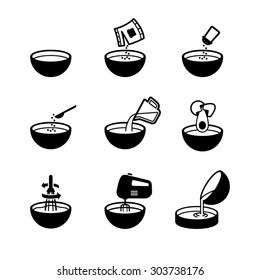 Kitchen bowl icon set