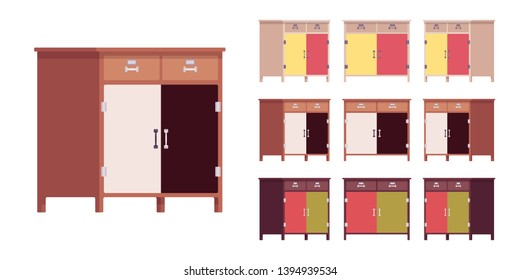 Kitchen cabinet with drawers and doors. Cupboard wooden side storage organizer for home dining accessories. Vector flat style cartoon illustration isolated on white background, different views, color
