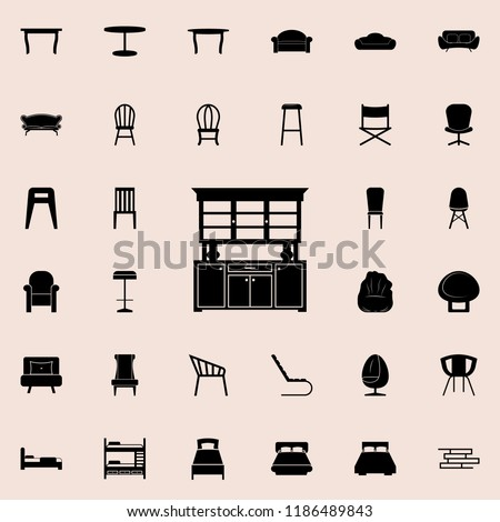 Kitchen Cabinet Icon Furniture Icons Universal Stock Vector Royalty