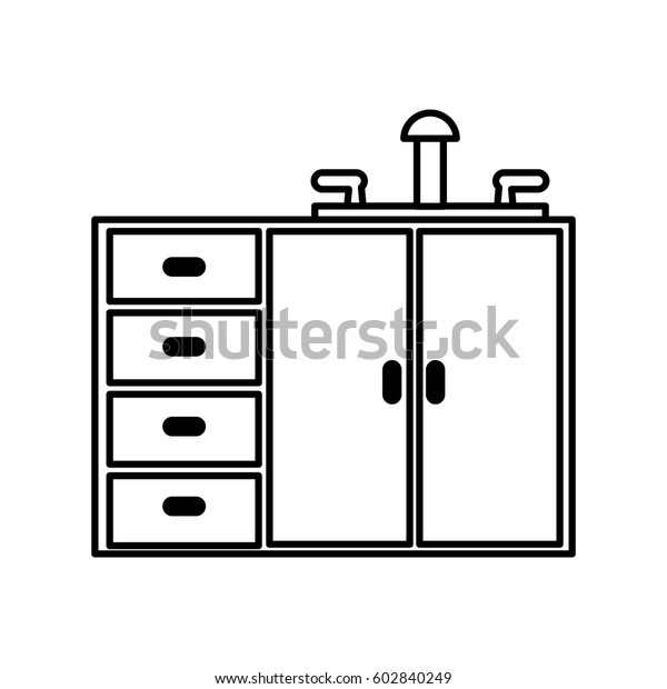 Kitchen Cabinet Isolated Icon Vector Illustration Stock Vector