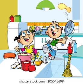 In the kitchen  cartoon boy and girl are fried pancakes.