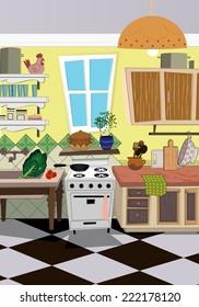kitchen cartoon style background