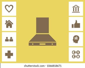 Kitchen Chimney Icon With Bonus Icons. Eps-10.