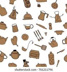 Kitchen color icon doodle set seamless pattern