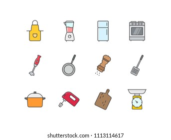 Kitchen colored line icons set with apron, blender, fridge, stove, pan, pepper, spatula, mixer, cutting board, scales.