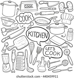 Kitchen Cook Doodle Icons Hand Made vector Illustration sketch.