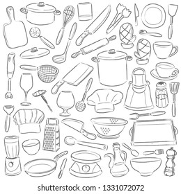 Kitchen Cooking Clip Art. Doodle Icons Sketch Hand Made Design Vector.