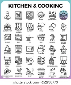 Kitchen and cooking concept detailed line icons set in modern line icon style concept for ui, ux, web, app design