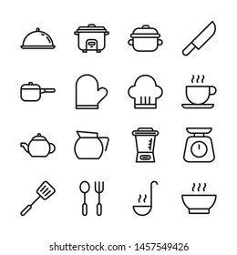 Kitchen and cooking line icons set vector illustration. Contains such icon as blender, knife, mixer, pot and more. Editable stroke