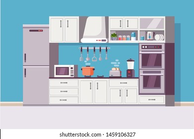 Kitchen cozy modern interior with kitchen tools and item - household equipment, microwave, blender, electric stove, kettle, dishes, refrigerator. Flat, cartoon style vector illustration.
